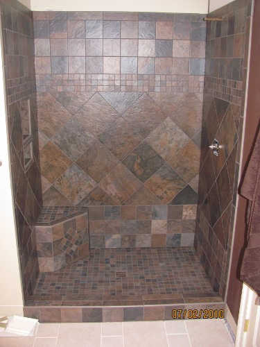 Beau Bathroom 2   Ceramic Tile Shower With Corner Bench. Bathroom 3   Marble Tub  Surround With Glass Tile Border Edged In Jade Ceramic Tile Bar Liners, ...